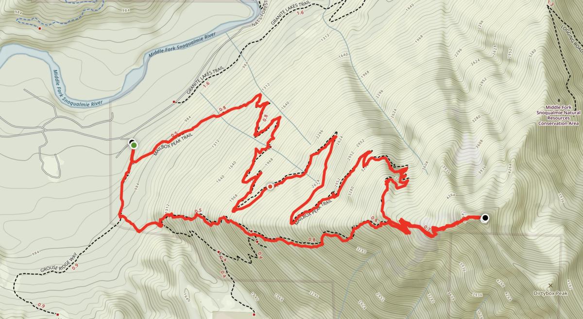 Mailbox peak topo map
